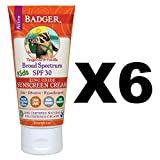 Badger Broad Spectrum SPF 30 Kids Sunscreen Tangerine & Vanilla 2.9oz (6-Pack)