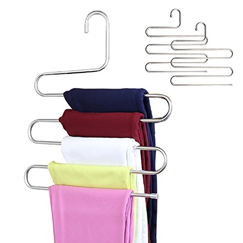 Multi-functional Stainless Steel Magic Pants Hangers Closet Hangers Space Saver 5 Layers (Multi Magic Scarf)