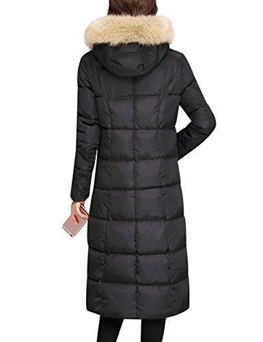 Tanming Women's Winter Cotton Padded Long Coat Outerwear With Fur Trim Hood (Large, Black) by Tanming (Image #1)