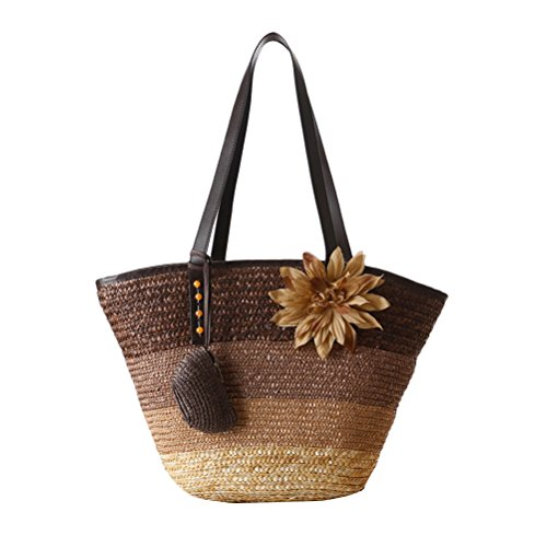 Zhhlaixing Casual Korean Style Color Striped Straw Buns Package Flowers Single Shoulder Woven Package Hit Beach Bags Bolsa hermosa especial for Womens Brown