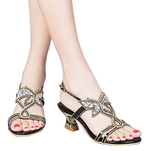 YooPrettyz Low Heel Evening Sandals Embellished Stud Butterfly Dress Party Wedding Sandal Black 10 (Dress Butterfly Embellished)