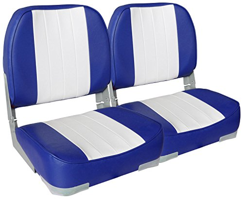 Leader Accessories A Pair of New Low Back Folding Boat Seats(2 Seats) - Boat Blue Seat