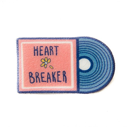 Pink-Retro-Record-Lapel-Pin-with-Quote-Heart-Breaker-Cute-Flair-for-Women
