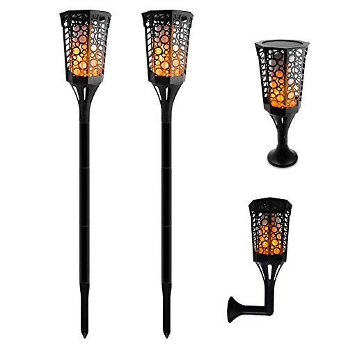 Aluvee Solar Torch Light,99LED 3 Mode Outdoor Waterproof Flickering Flames Torches Landscape Decoration Lighting Dusk to Dawn Auto On/Off Security Warm Lamp for Garden Patio Path Deck Yard Driveway (2