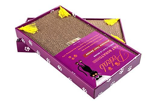 PEEKAB Cat Corrugate Scratcher Scratching Cardboard, Catnip Included, Size:17.7 x 9 x 1.9 inches (2 Pack)