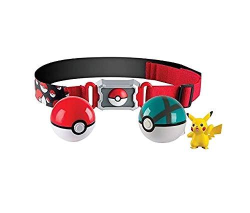 Pokémon Clip and Carry Poké Ball Adjustable Belt with 2 inch Pikachu Figure, Poké Ball, and Grass Type Nest Ball - Gotta Catch 'Em All (Backpack Clip Pokemon)
