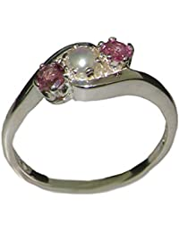 18k white gold cultured pearl pink tourmaline womens trilogy ring sizes 4 to 12 available - Pearl Wedding Rings