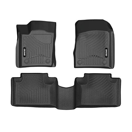 COOLSHARK Jeep Grand Cherokee Floor Mats, Car Floor Mats Custom Fits 2016-2019 Grand Cherokee and 2016-2019 Dodge Durango (Bench Seating), Front and Rear Row Included - All Weather Protection,Black