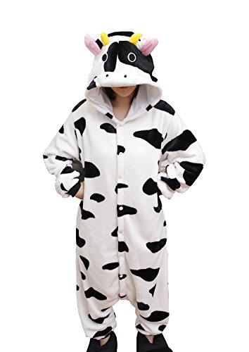 RubySports Women Mens Onesie Hoodie Pajamas Jumpsuit Playsuit One Piece Costume Cow L -