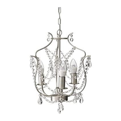 Amazon Com Ikea Chandelier 3 Armed Silver Color Glass