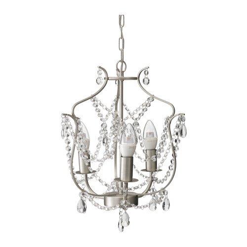 Ikea Chandelier, 3-armed, silver color, glass 622.262914.2618