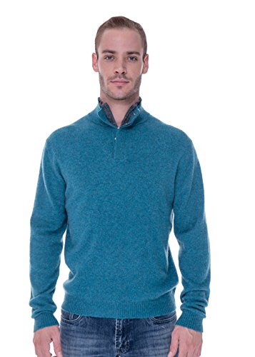 LEBAC Men's 100% Cashmere Quarter Zipped Pullover With Elbow Patches (Medium, Turquoise/Grey) by LEBAC