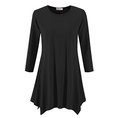 1a623087f90 Topdress Women s Swing Tunic Tops 3 4 Sleeve Loose T-Shirt Dress Black M