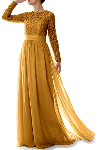 MACloth Elegant Long Sleeve Mother Of Bride Dress Lace Formal Evening Gown (22w, Gold) by MACloth