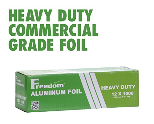 Heavy Duty Aluminum Foil Wrap, Commercial Grade 1000ft Foil Wrap for Food Service Industry, Strong Silver foil, 12 inches by 1000 Feet (1-Box) ()