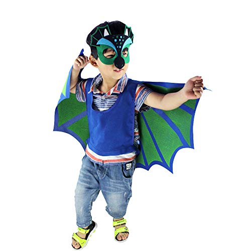 Funkeet Kids Dinosaur Wings Cape and Felt Mask Costume Set for Halloween Christmas Cos Party Dress Up