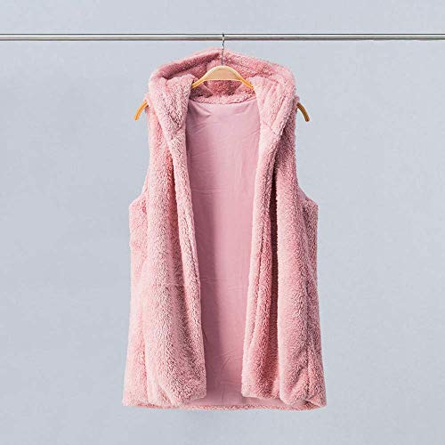 Qiusa Womens Faux Fur Solid con Capucha Outwear sin Mangas ...
