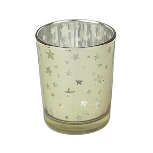 Star Toothpick Holder (Bazzano Votive Tealight Stick Candle Holder Stars Glass Party Decor Wedding Golden)