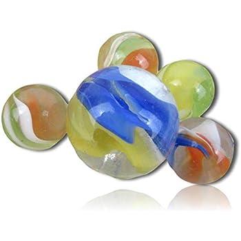 25 Glass Marbles CAT/'S EYE Orange//Blue//Green Cats Eyes Game Pack Shooter Swirl