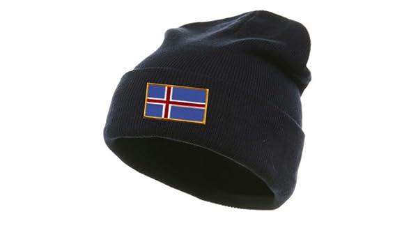 Iceland Flag Soccer Player Skull Cap Men Women Knit Hats Stretchy /& Soft Beanie