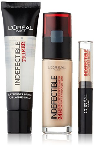 L'Oréal Paris Set Indefectible Make-Up 145 rose beige, Concealer 01 vanilla inkl. Gratis Primer, 1er Pack