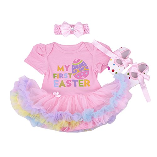 MyCHIC Infant Baby Girl My First Easter Outfits Tutu Romper Dress Headband Shoes Set (My First Easter Pink, 6-12 Months) ()