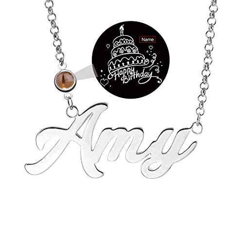 LAOFU Name Necklace Personaliaed Name Plate Projective Necklace Gift for Mother, The Memory of Love Nanotechnology Necklace, DOUYIN Pendant Necklace for Mom (A Customized Projection in Silver) ()