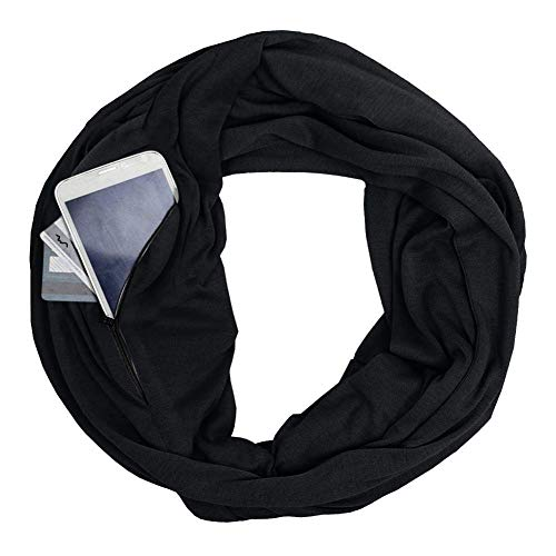 Scarf With Pockets - 100% Cotton Women Infinity Scarf Wrap with Secret Hidden Zipper Pocket Fashion Circle Loop Travel Scarfs for Spring Winter