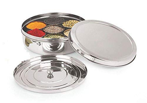 Spice Container - Masala Dabba - 7 Compartments, masala box,steel masala dabba,Spice container box,stainless steel spice box indian masala dabba with 7 spice containers,Stainless Steel Masala Dabba