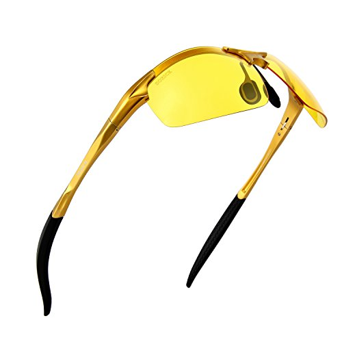 Outdoor Sport Night Vision Sunglasses Soxick Yellow Lens Night Glasses for Driving Unbreakable Glasses Fishing Golden Frame
