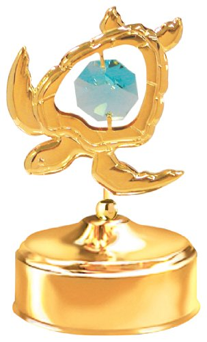 24K Gold Plated Sea Turtle Music Box.... With Green Austrian Crystals