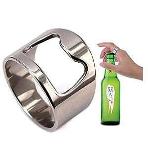 VQYSKO Beer Bar Tool Creative Versatile Stainless Steel Finger Bottle Opener Ring Party Ring (6)