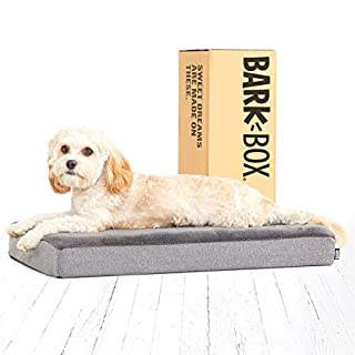 Barkbox Memory Foam Platform Dog Bed | Plush Mattress for Orthopedic Joint Relief | Machine Washable Cuddler with Removable Cover and Waterproof Lining | Includes Squeaker Toy | Grey | Small
