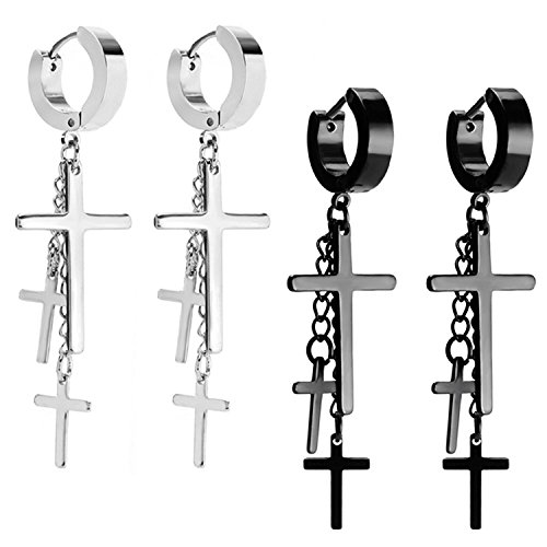 Cross Tassel Stainless Steel Hoop Dangle Earrings
