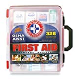 Be Smart Get Prepared First Aid Kit Hard Red Case 326 Pieces Exceeds OSHA and ANSI Guidelines