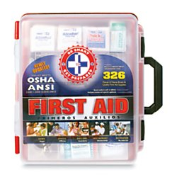 Be Smart Get Prepared First Aid Kit Hard Red Case 326 Pieces Exceeds OSHA and ANSI Guidelines by Be Smart Get Prepared