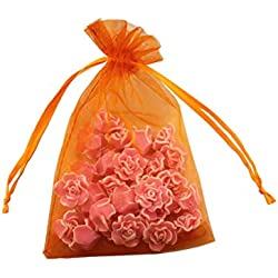 8 x 12 Inch 100 Drawstring Bags Gold Silver Fabric Jewelry Gift Pouch Candy Pouch Wedding Favors (Orange)