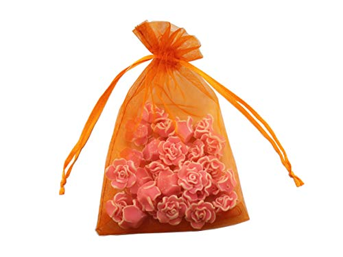 Orange Organza Bags - 8 x 12 Inch 100 Drawstring Bags Gold Silver Fabric Jewelry Gift Pouch Candy Pouch Wedding Favors (Orange)