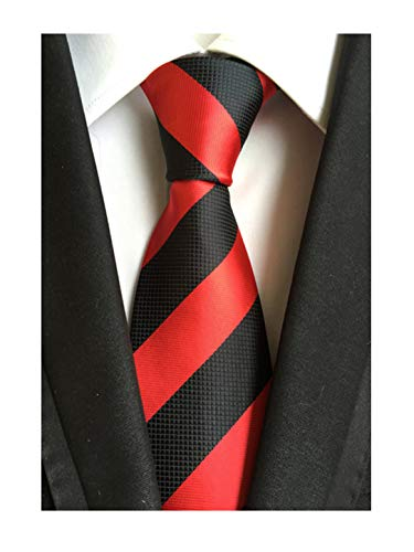 Men's Clssic Red Black Striped Silk Tie Handmade Retro Formal Necktie Gift for Son Husband