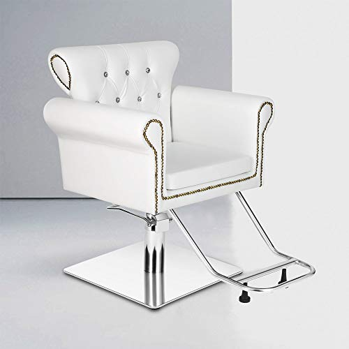 Vintage Styling Barber Chair Antique Hydraulic Hair Spa Salon Chairs Beauty Equipment (White)