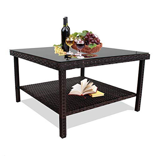 LEAPTIME Patio Side Table Brown Wicker Coffee Tea Table Big Tempered Glass Top Large Match Patio Sofa