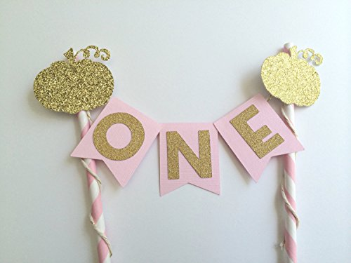 Pink and Gold Cake Topper. Little Pumpkin Party Decorations. 1st Birthday Party (Pink Pumpkin)