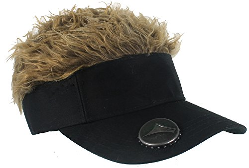Flair Hair Mens Black Visor Flair Hair Bottle Opener One Size Fits Most