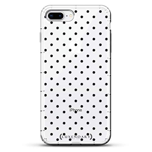 SHAPES & PATTERNS: BLACK POLKA DOT | Luxendary Air Series Clear Silicone Case with 3D Printed Design and Air-Pocket Cushion Bumper for iPhone 8/7 Plus