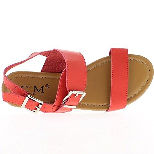 Sandalias planas rojas con rebordes de amplia