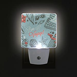 ALAZA LED Night Light With Smart Dusk To Dawn Sensor,Vacation Frame Bon Voyage Plug In Night Light Great For Bedroom Bathroom Hallway Stairways Or Any Dark Room