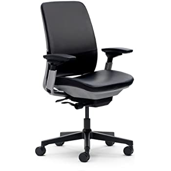 Amazon Com Steelcase Amia Leather Chair Black Kitchen