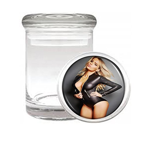 """Medical Glass Stash Jar Russian Russia Pin Up Girls S9 Air Tight Lid 3"""" x 2"""" Small Storage Herbs & Spices"""
