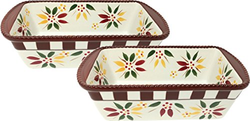 Temp-tations Set of 2 Loaf Pans for Meat Loafs or Breads 1.75 Quart Each (Vivid Old World Fallfetti)