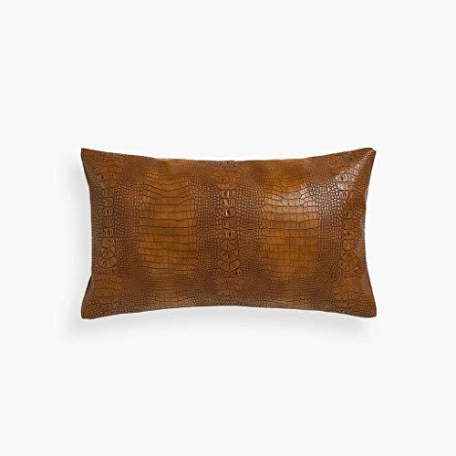 LPFS Vintage Nordic Leather Color Crocodile Effect Pillow Cushion (Color : Brown) (Crocodile Effect Leather)